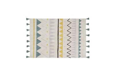 tapis avec franges lavable en machine bleu azteca lorena canals bleu 120x160 cm