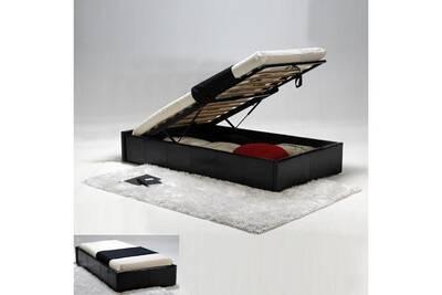 lit 1 place le quai des affaires lit coffre torino 90x190 1 sommier noir darty. Black Bedroom Furniture Sets. Home Design Ideas