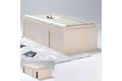 lit 1 place le quai des affaires lit estrade 90x190 3 portes coulissantes blanc - Lit Estrade