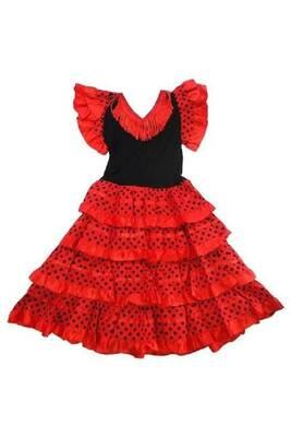 d8a4e70bc4f Déguisements GENERIQUE Robe de danse FLAMENCO enfant fillette 12 ans rouge  a pois