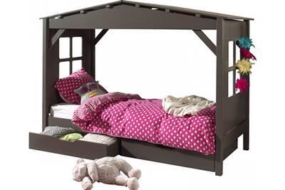 lit 1 place comforium lit cabane 90x200 avec 2 tiroirs de rangement en pin massif coloris taupe. Black Bedroom Furniture Sets. Home Design Ideas