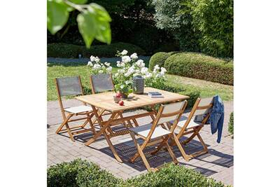Salon de jardin en bois d\'acaciafsc 150x90