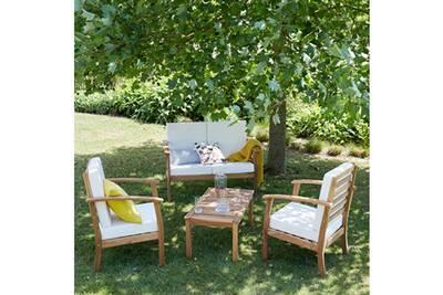 Salon bas de jardin en bois d\'acacia fsc