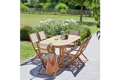 Salon de jardin en bois d\'acacia fsc extensible 6/8 places