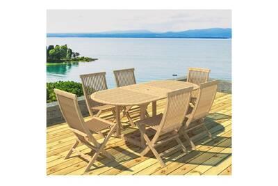 Table ovale teck 120/170cm & 6 chaises naturel
