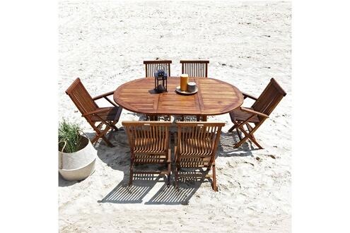 Salon de jardin en bois de teck huilé 6/8 pers table ovale larg 120cm 4  chaises 2 fauteuils