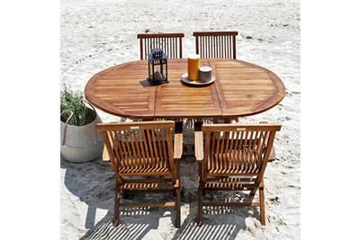 Salon de jardin en bois de teck huilé 4/8 personnes - table ovale avec 4  fauteuils
