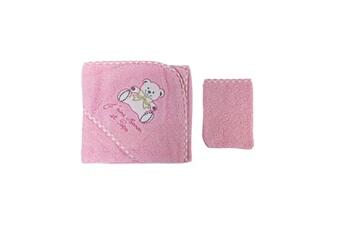 Sortie de Bain bébé Fruit De Ma Passion Parure de bain pour bébé rose - motif nounours j'aime maman et papa