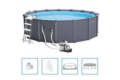 piscine hors sol intex intex piscine avec panneau 28382gn 478 cm pvc 16805 l graphite darty. Black Bedroom Furniture Sets. Home Design Ideas
