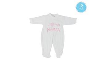 Linge de lit bébé Fruit De Ma Passion Babygro pour bébé 12 mois blanc et rose - j'aime ma maman