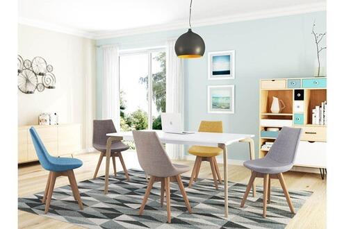 Chaise UsineStreet Lot de 2 chaises scandinaves loa tissu avec pieds bois - couleur - gris foncé