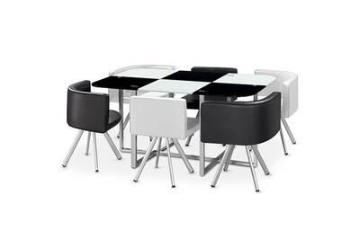 Table A Manger Verre 6 Chaises Noir Et Blanc Corner Xl