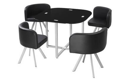 Table à manger corner 90 cm noir en verre + 4 chaises