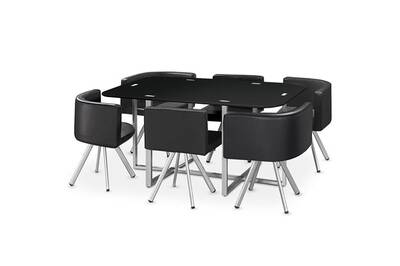 Table Cotecosy Table à manger verre + 6 chaises noir corner xl | Darty
