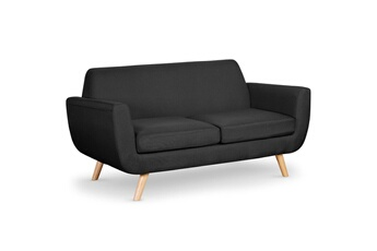 5a3b05ae6df Canapé fixe Canapé scandinave 2 places danube tissu noir MENZZO