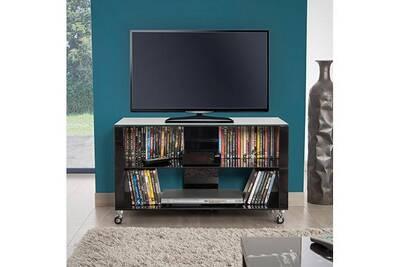 Meuble Tv 90 Cm En Verre Noir Chelsea