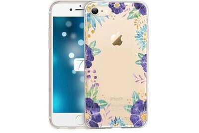Coque iphone 7 iphone 8 fleur 15 violet pastel tropical or transparente