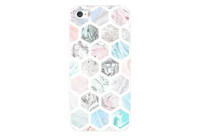 Coque iphone 7 plus iphone 8 plus marbre pastel geometrique rose blanc