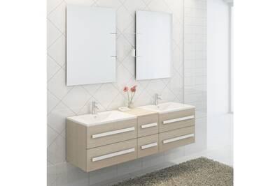 Ensemble complet meuble salle de bain pure 2 vasques 2 miroirs