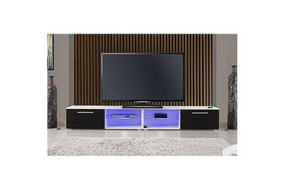 Meuble Tv Maisonetstyles Iowa Meuble Tv Led Blancnoir Darty