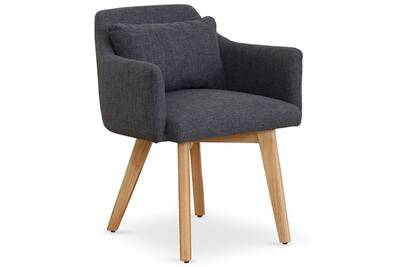 Fauteuil MENZZO Chaise Scandinave Gybson Tissu Gris Fonce