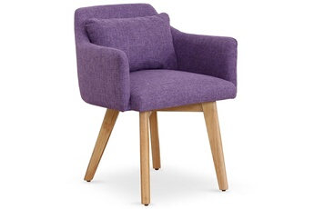 3f76c132441669 Fauteuil Chaise   fauteuil scandinave gybson tissu violet MENZZO