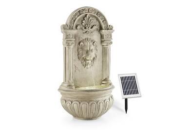 Fontaine De Jardin Murale 2w Solaire Led Polyresine Imitation Pierre