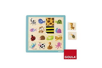 Puzzles Goula Puzzle en bois 16 pièces : les animaux et leurs couleurs