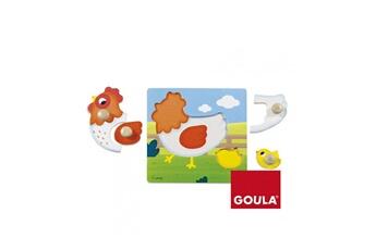 Puzzles Goula Puzzle en bois 4 pièces : la poule et son petit poussin