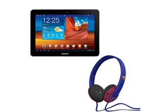 Samsung Pack tablette galaxy tab 10.1 wifi - 16 go avec casque bluetooth skullcandy fc barcelone