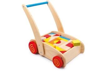 Jouets premier âge SMALL FOOT Chariot de marche à roulettes «construction»