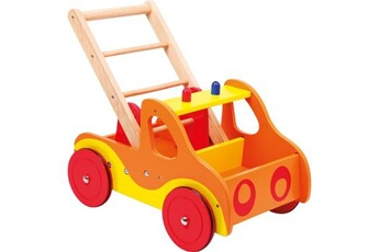 Jouets premier âge SMALL FOOT Chariot de marche sur roulettes «pompiers»