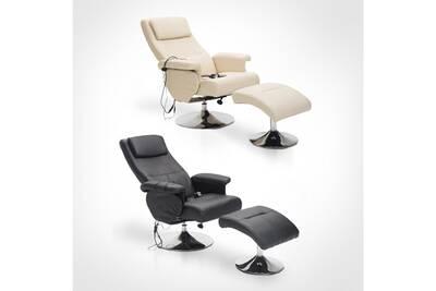 code promo 400ef e924e Fauteuil de massage et relaxation électrique chauffant pivotant inclinable  avec repose-pied crème