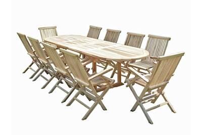 Ensemble salon de jardin en teck henua 10 fauteuils pliants