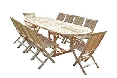 Ensemble salon de jardin en teck henua 10 chaises