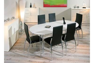 Table rallonge ovale meuble de cuisine salon salle manger moderne blanc  laque