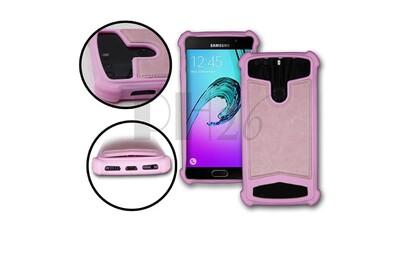 Samsung galaxy note 4 coque arrière façon cuir rose contours en silicone gel anti-chocs by ph26®