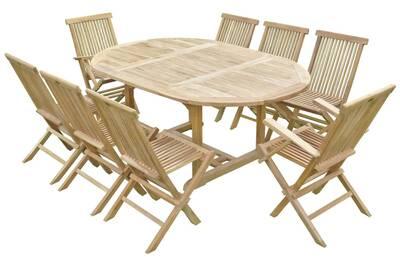 Ensemble de jardin en teck premium sawah 6 chaises 2 fauteuils jenae