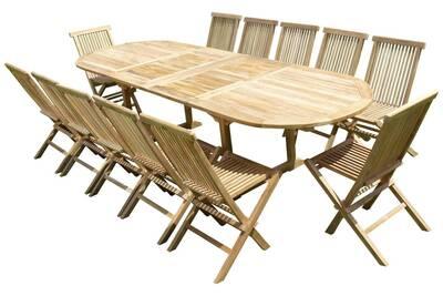 Ensemble de jardin en teck premium nayan 12 chaises jenae