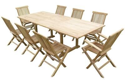 Ensemble de jardin en teck premium astana 6 chaises 2 fauteuils jenae