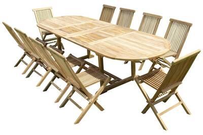 Ensemble de jardin en teck premium nayan 10 chaises jenae