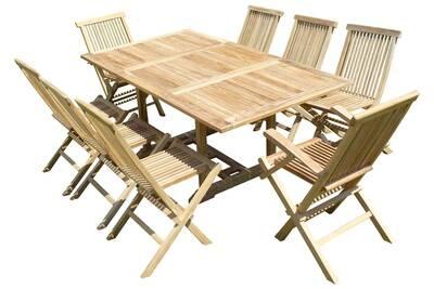 Ensemble salon de jardin en teck sunang 6 chaises 2 fauteuils jenae
