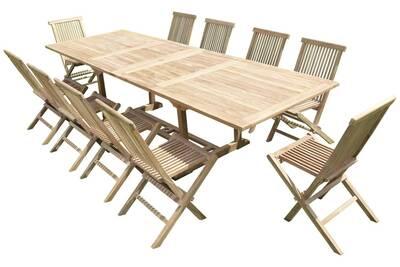 Ensemble de jardin en teck premium kirang 10 chaises jenae