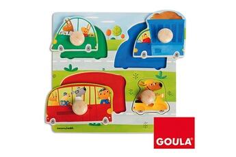 Puzzles Goula Encastrement 4 pièces en bois : véhicules