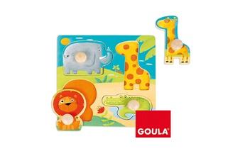 Puzzles Goula Encastrement 4 pièces en bois : animaux sauvages