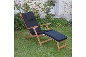 Coussin Pour Chaise De Jardin Matelas Noir Longue Teckattitude