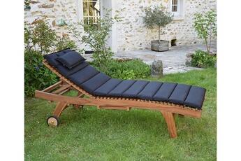 Coussin Pour Chaise De Jardin Matelas Noir Bain Soleil Teckattitude