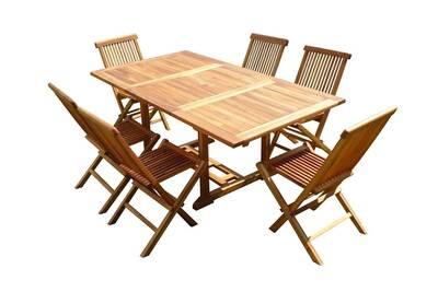 Ensemble salon de jardin en teck huilé sidan 6 chaises jumak