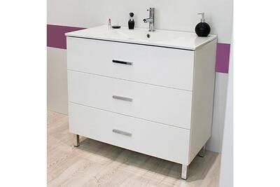 Meuble sur pieds 90 cartanne, blanc + vasque, miroir, spot