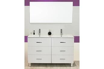 Meuble Salle De Bain Sur Pieds 120 Cartanne Blanc Double Vasque Miroir